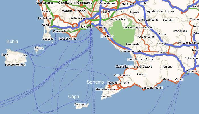 Cartina Costiera Amalfitana E Capri.Penisola Sorrentina Mappe E Sentieri